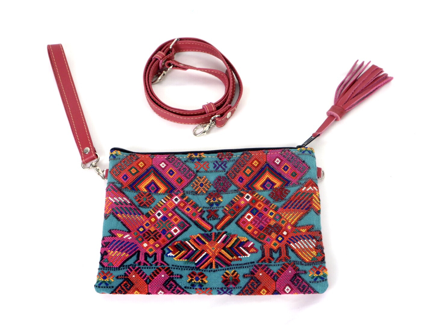 Leather + Huipil Cross Body Clutch - No. 218