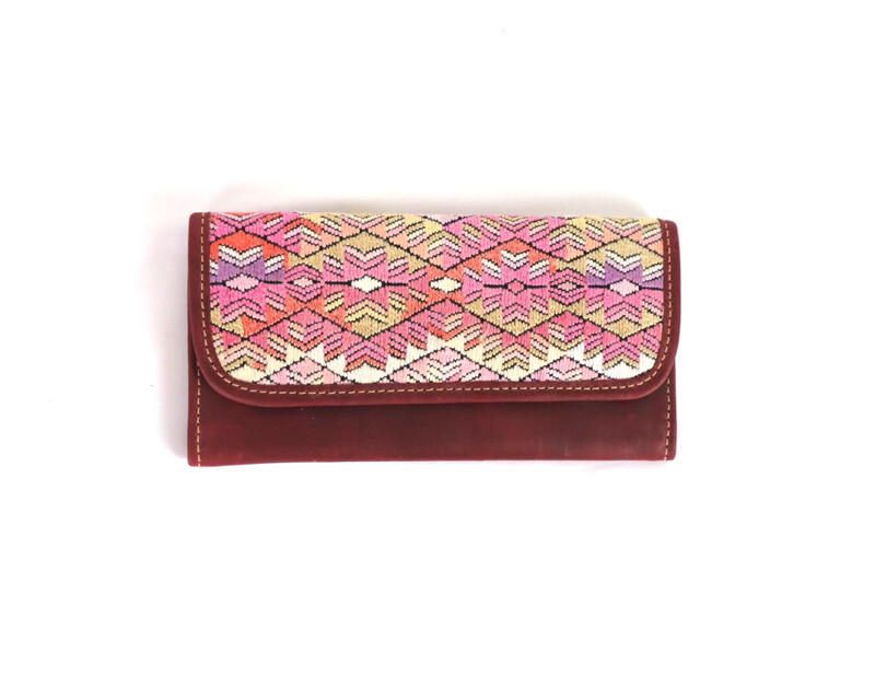 Mayan Leather Wallet - Red Wine