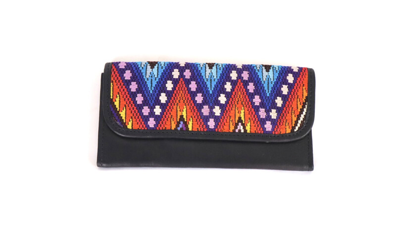 Mayan Leather Wallet - Black