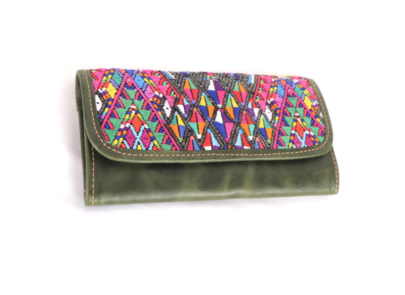 Mayan Leather Wallet - Olive Distressed Green