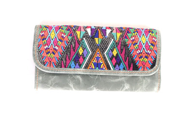 Mayan Leather Wallet - Greystone
