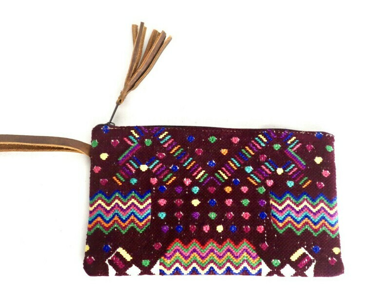 Huipil & Leather Clutch - Small