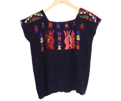 Huipil | Hand Woven Blouse | Vintage Top - Chajul (SMALL)