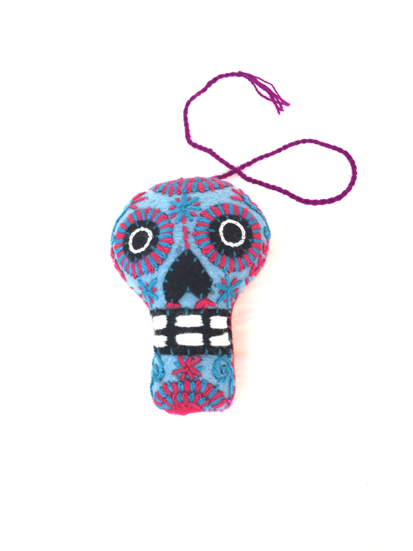 Day of the Dead Embroidered Tassel Pom Pom - No. 1