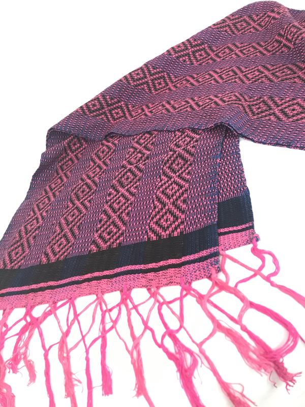 Handwoven Soft Cotton Scarf - Pink/Black/Blue