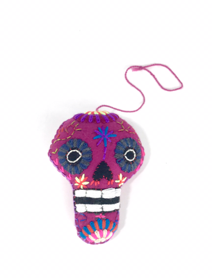 Day of the Dead Embroidered Tassel Pom Pom - No. 12