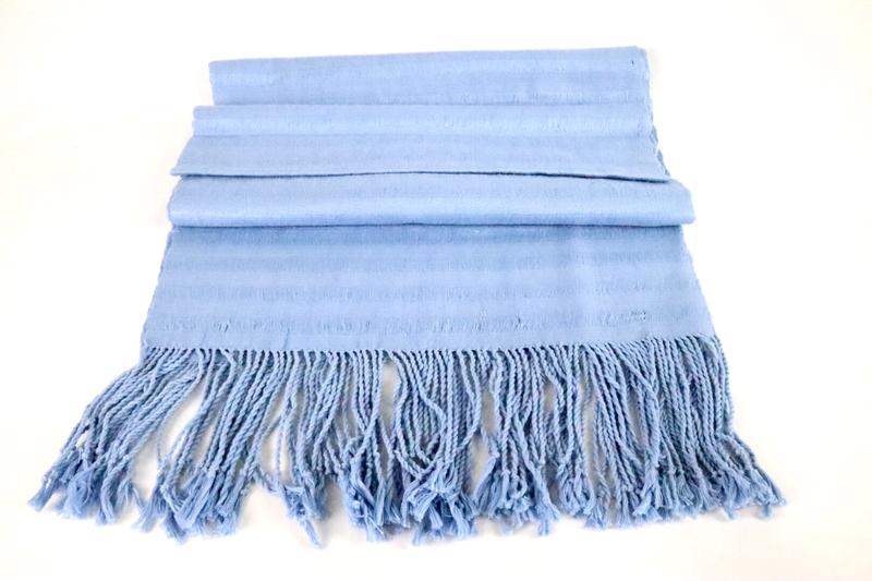 Handwoven Cotton Shawl - Baby Blue