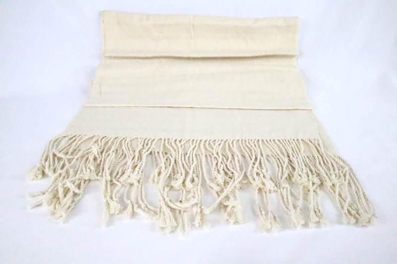 Handwoven Cotton Shawl - Cream