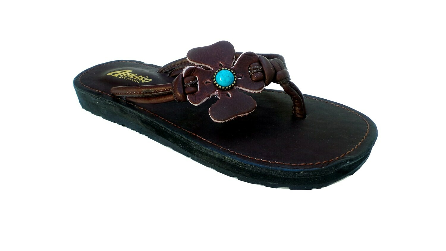 Sandale en cuir FLOWER marron