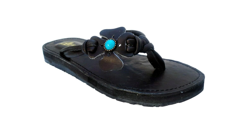 Sandale en cuir FLOWER noir