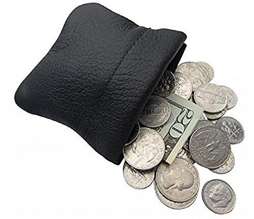 Classic Leather Squeeze Coin Purse change Holder For Men Multipule Colors, Pouch size 3.5 in. across X 3.25 in. high By Nabob Leather, Made IN USA