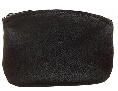 Classic Men's Large Coin Pouch Change Holder, Genuine Leather, Zippered Change Purse, Pouch Size 5 x 3 By Nabob