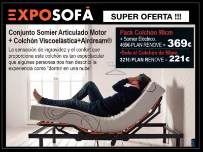 Conjunto Somier Articulado eléctrico  + Colchón Viscoelástico.
