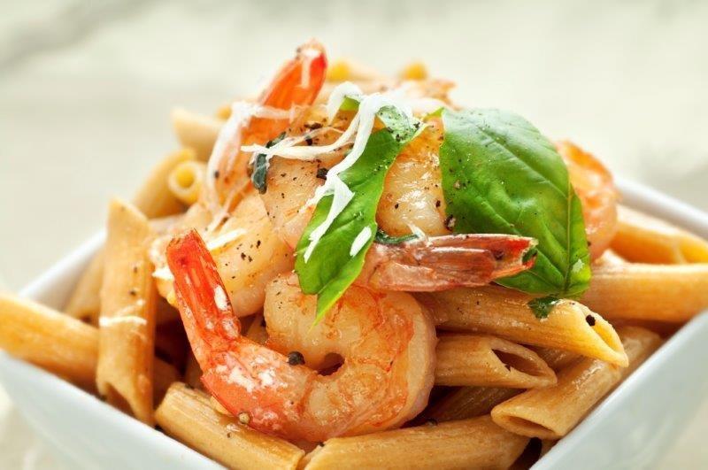 Multicolored Pasta/Shrimp, Parmesano-Romano Cheese. Artichoke Salad