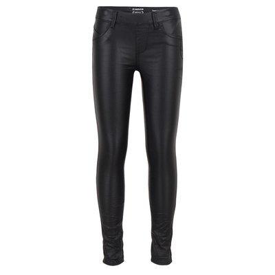 Jeans met leer-coating