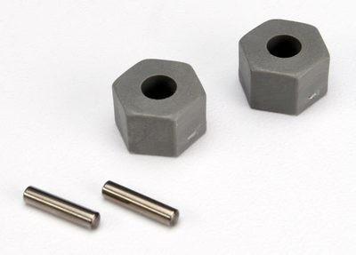 Traxxas Wheel hubs, hex (tall offset, Rustler/Stampede front) (2)/ axle pins (2.5x10mm) (2)