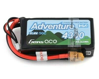 Gens Ace Adventure 3S 50C LiHV Battery Pack w/XT60 Connector (11.4V/4300mAh)