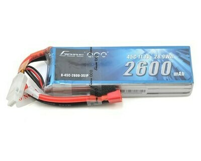 Gens Ace 3s LiPo Battery 45C (11.1V/2600mAh) w/T-Style Connector