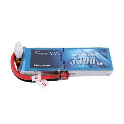 Gens ace 3300mAh 11.1V 45C 3S1P Lipo Battery Pack with Deans Plug
