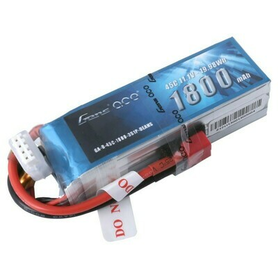 Gens Ace 11.1V 45C 3S 1800mAh Lipo Battery Pack with Deans Plug
