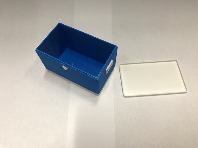 3D printed cooler with removable lid, large. blue
