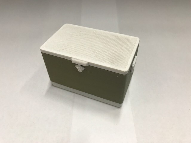 3D printed cooler with removable lid, large. olive