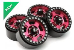 Boom Racing Krait™ 1.9 Golem Aluminum Beadlock Wheels with +8mm Widener (4) Red