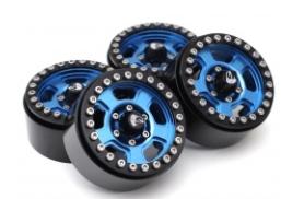 Boom Racing Krait™ 1.9 Golem Aluminum Beadlock Wheels with +8mm Widener (4) Blue