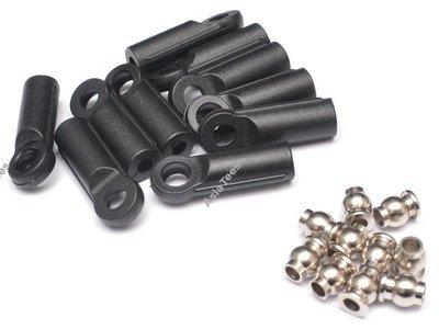 Team Raffee Co. M4 Nylon Rod Ends (Straight) 21.8MM w/ Steel Pivot Ball (5.8x3x7.4mm) (10)
