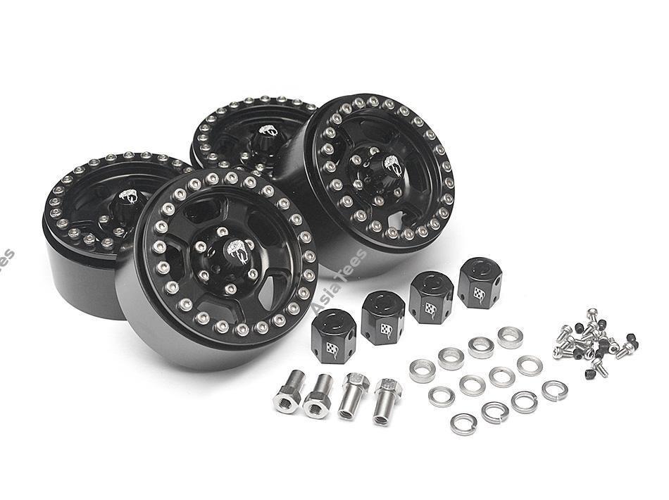 Boom Racing Golem KRAIT™ 1.9 Aluminum Beadlock Wheels with 8mm Wideners (4) Black