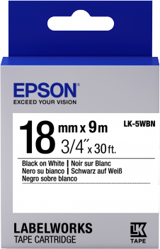 Epson LK-5WBN 18mm black On White Label tape