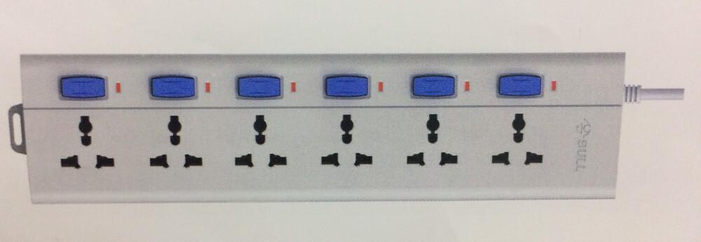 Bull 6 Sockets, 6 Switch 3mtr Extension Board