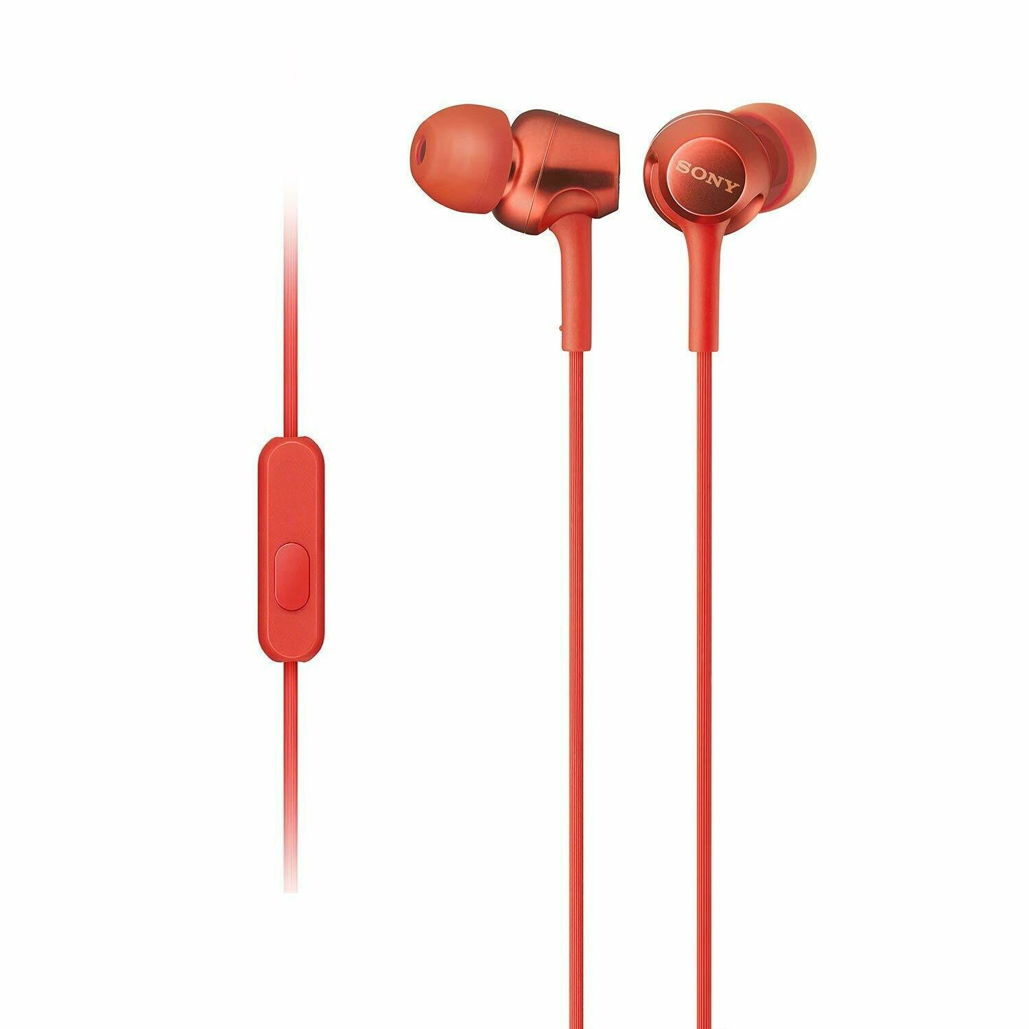Sony MDR-EX255AP in-Ear Headphones with Mic, Red