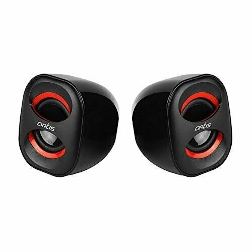 Artis Mini 2.0 USB Multimedia Speakers, Red