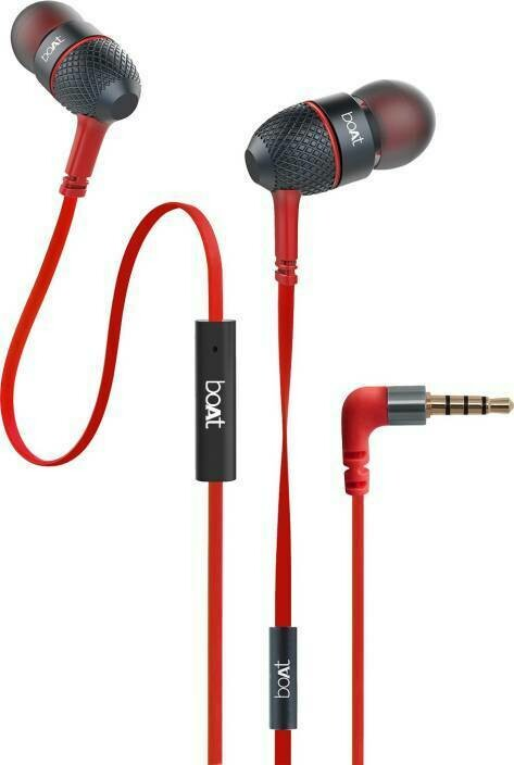 boAt BassHeads 220 In the Ear Headset with Mic, Raging Red
