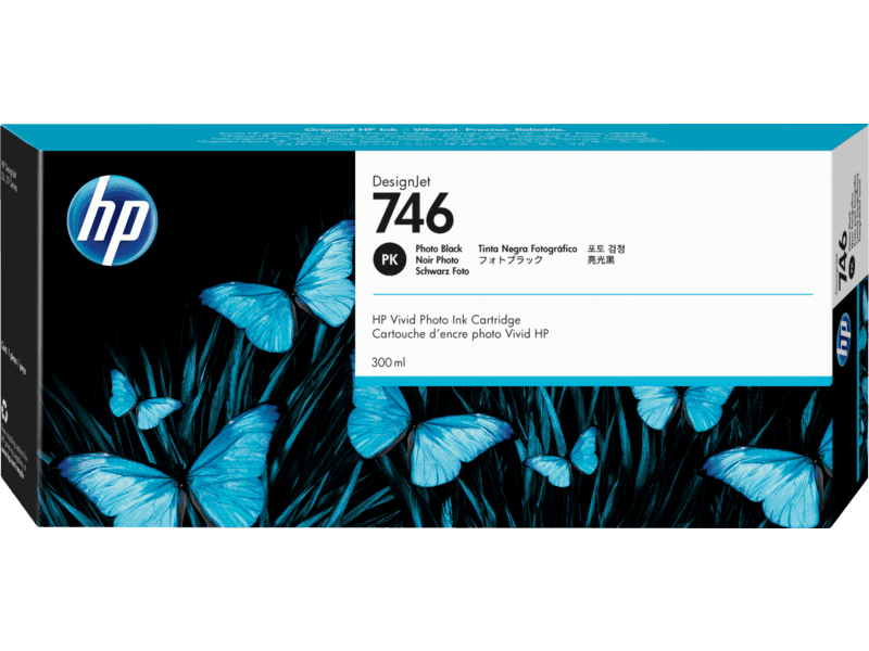 HP 746 Photo Black DesignJet Ink Cartridge, 300ml