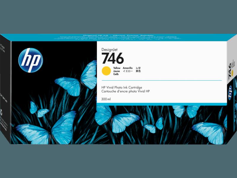HP 746 Yellow DesignJet Ink Cartridge, 300ml