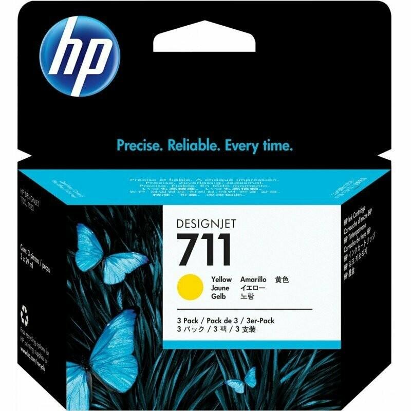 HP 711 Ink Cartridge, Yellow 3-Pack, 3x 29ml
