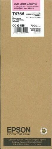 Epson T6366 Ink Cartridge, Vivid Light Magenta, 700ml