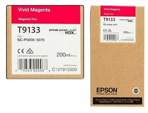 Epson T9133 Vivid Ink Cartridge, Magenta, 200ml