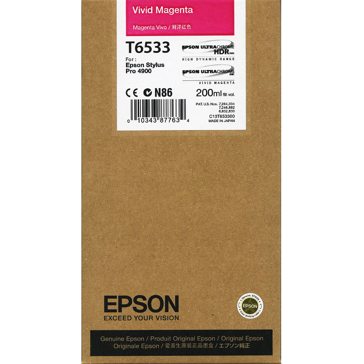 Epson T6533 Vivid Ink Cartridge, Magenta, 200ml