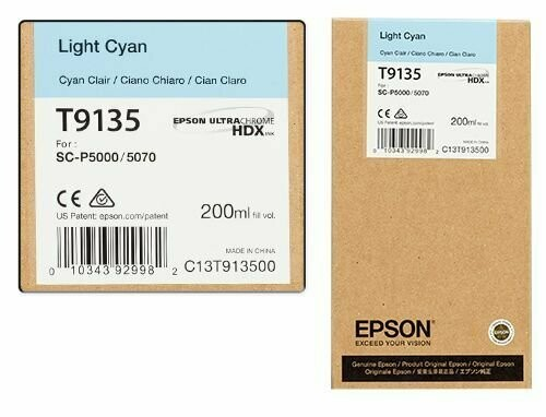 Epson T9135 Ink Cartridge, Light Cyan 200ml