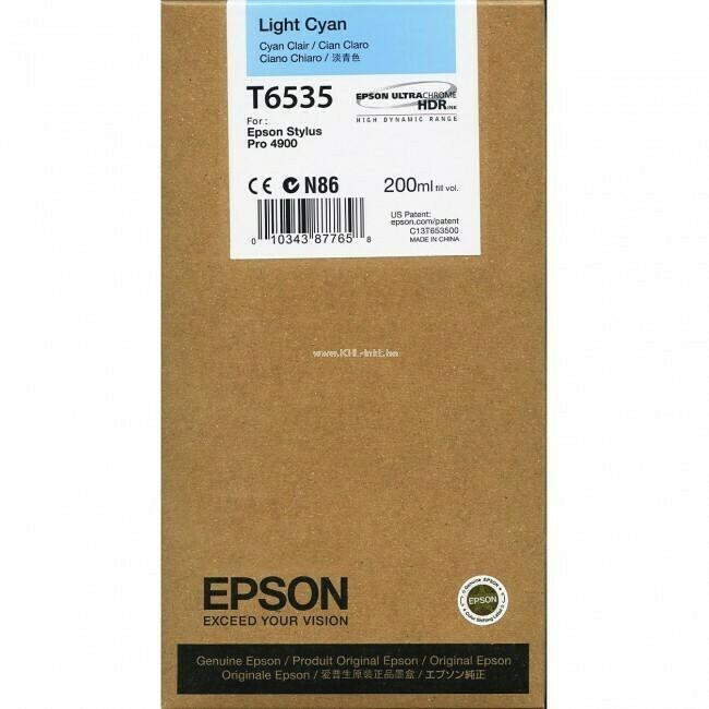 Epson T6535 Ink Cartridge, Light Cyan, 200ml