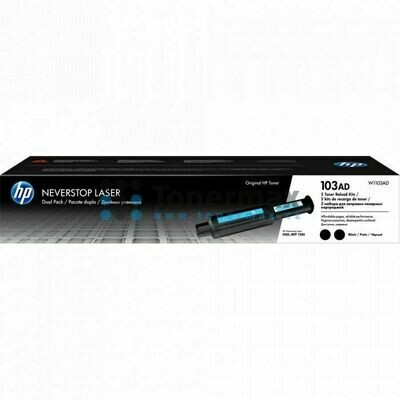 HP 103AD Dual Pack Neverstop Laser Toner Reload Kit, Black