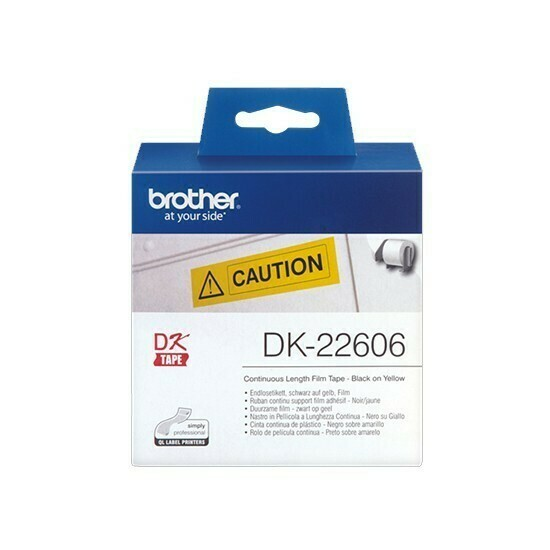 Brother DK22606 Continuous Length Film Yellow Label, 62mm X 15.24m