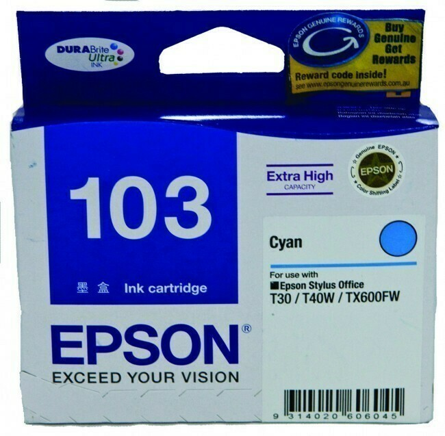 Epson 103 Ink Cartridge, Cyan