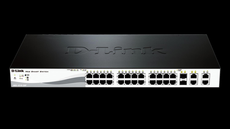 D-Link 24-Ports 10/100/1000Mbps PoE Switches, DES-1210-28P