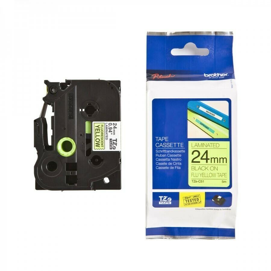 Brother Tze-C51 Black in Flu Yellow 24mm Label Tape