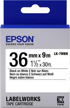 Epson LK-7WBN 36mm Black on White Label Tape