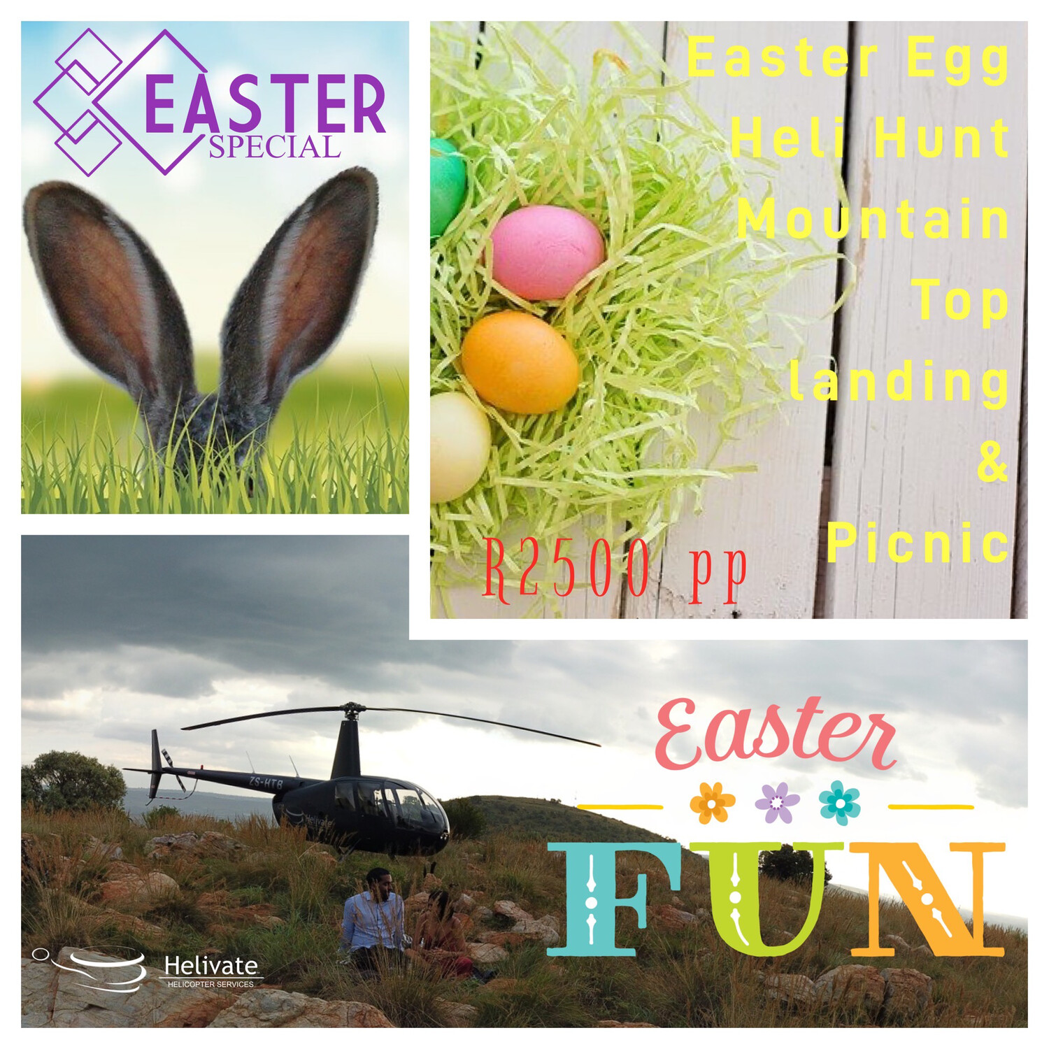 Easter special: Easter Egg Heli Hunt Mountain Top Landing & Picnic
